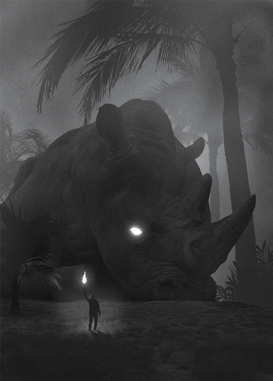 Giant Rhino - Dark Paintings