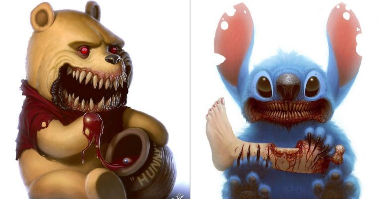 10+ Childhood Cartoon Characters Turned Into Terrifying Monsters