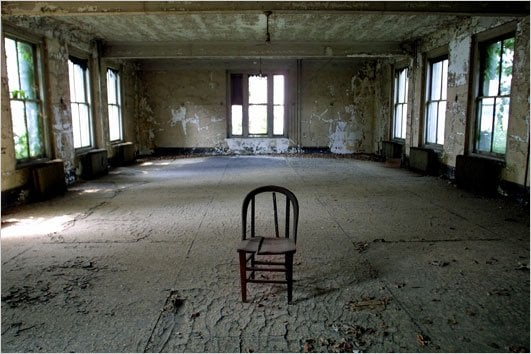 An eerie chair in the middle of the room