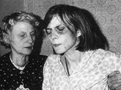 Anneliese pictured with her mother during the exorcism