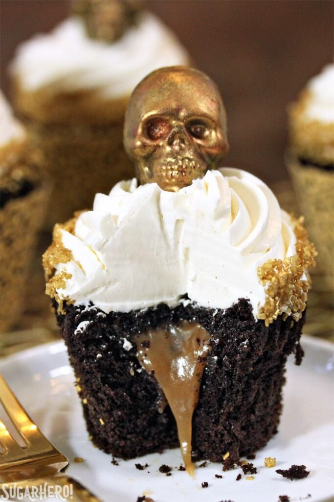 Caramel Stuffed Chocolate Cupcakes with Caramel Skulls