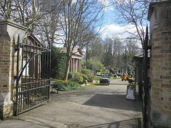 The actual entrance to Highgate Cemetery