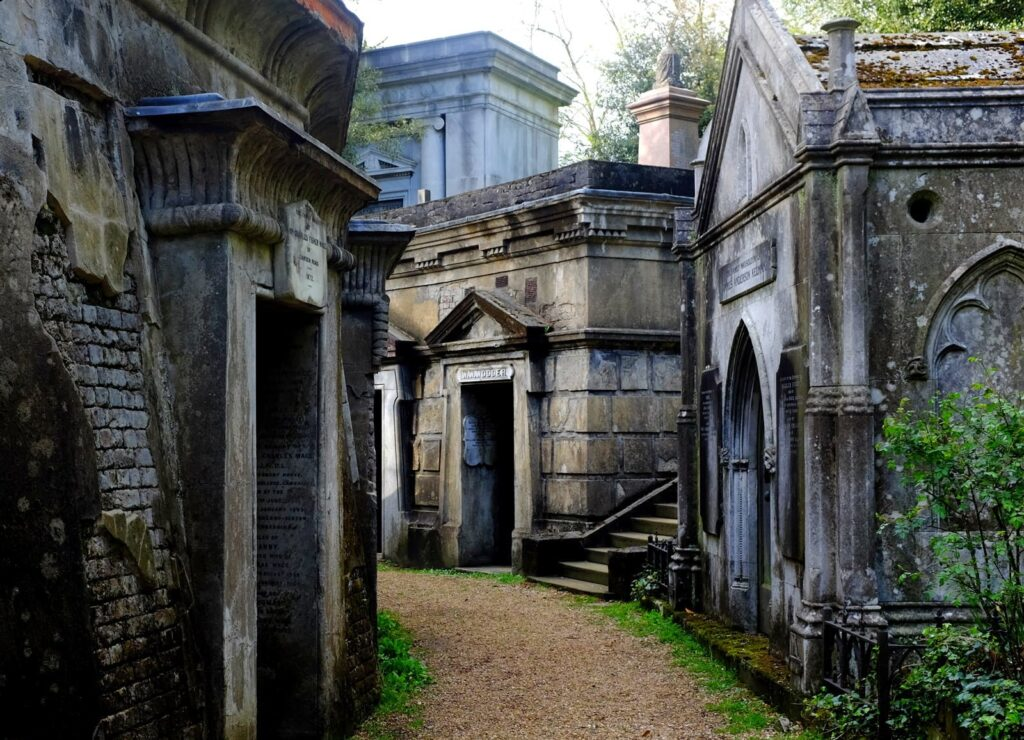 A photo of one of the walkways through the cemetery