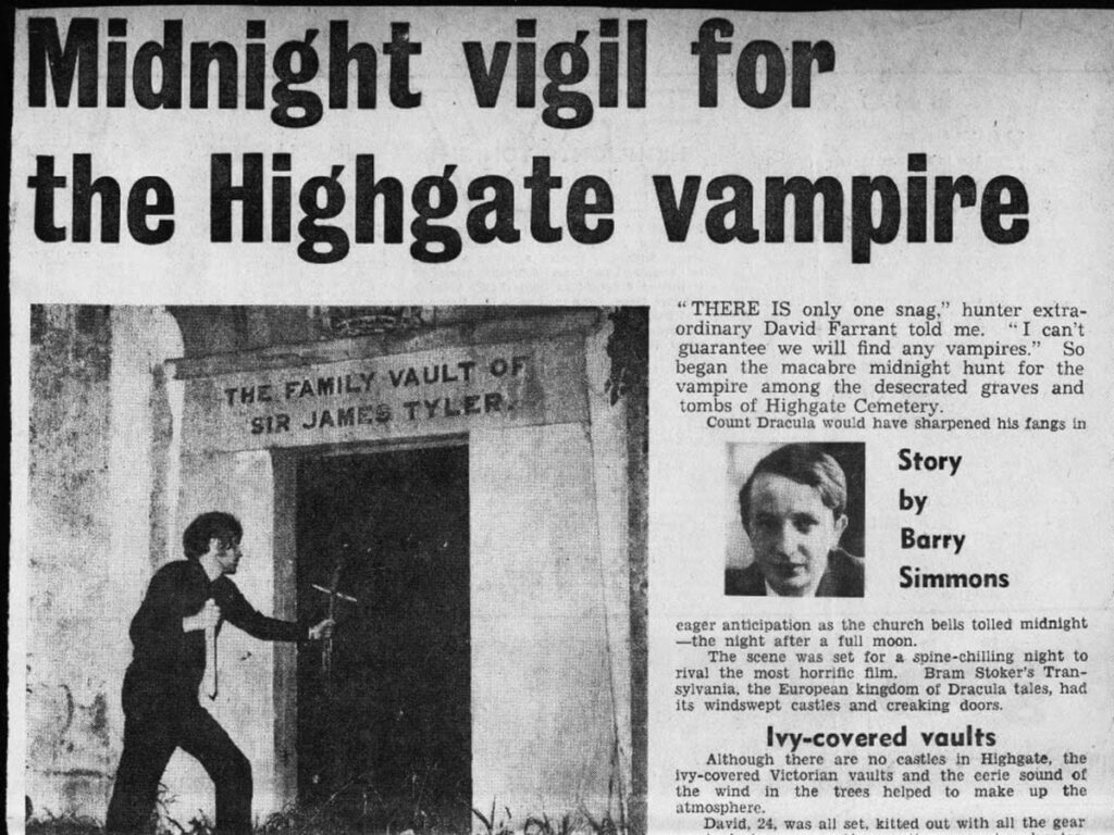 A newspaper article about the Highgate Vampire