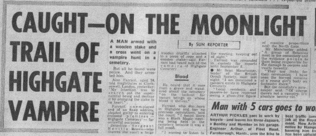 An old newspaper reporting on the Highgate Vampire