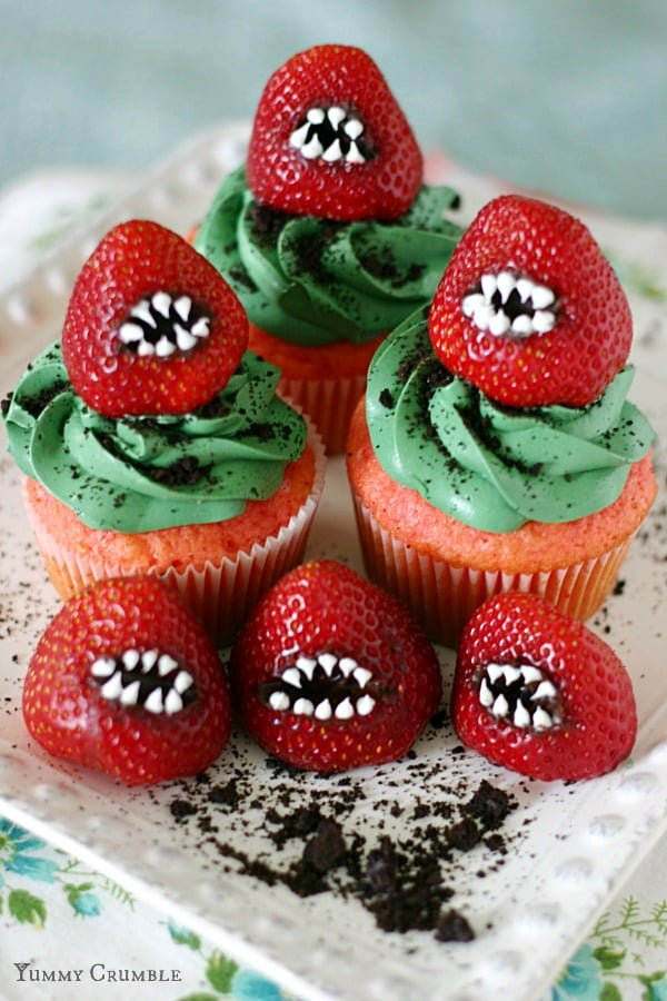 Monster Strawberry Cupcakes