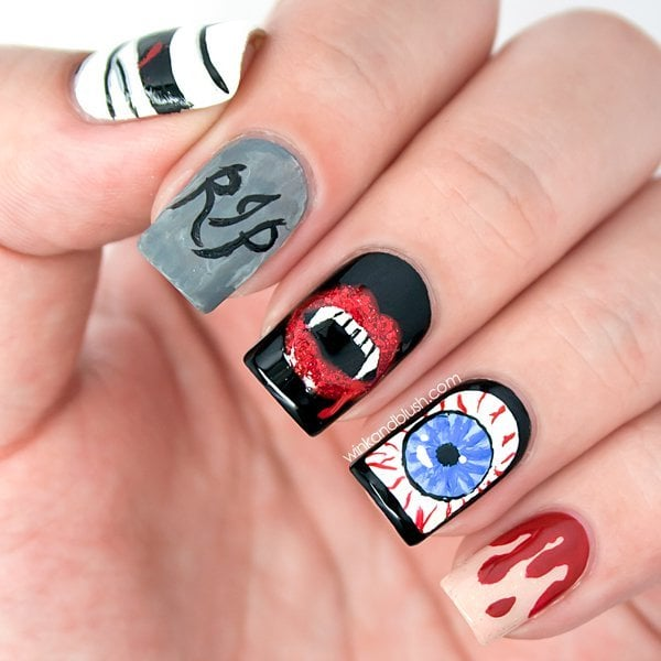 100 halloween nail art design ideas just for you nail art designs for halloween prinsesfo Images