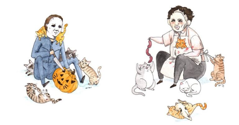 Artist Sketches Terrifying Horror Icons Playing With Cats And It Will Warm Your Heart
