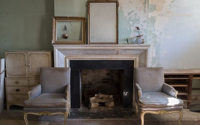The fireplace still hosts