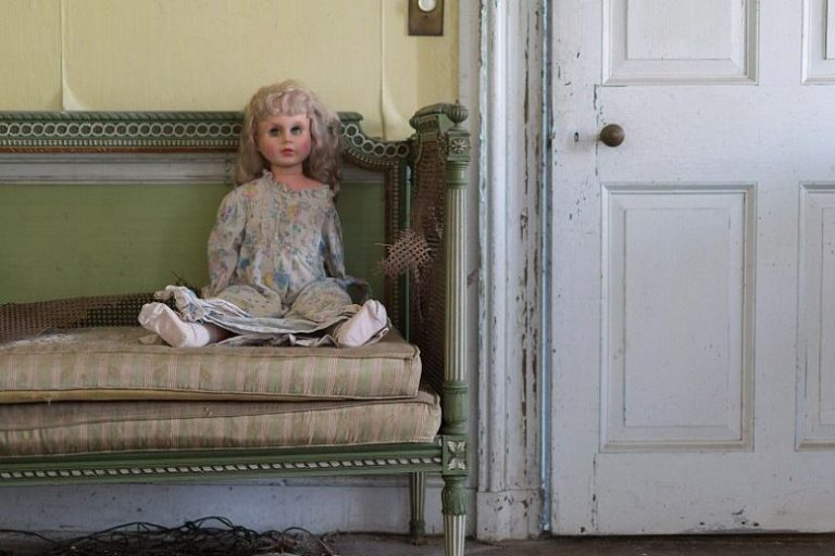 A doll found on a tattered couch cushion