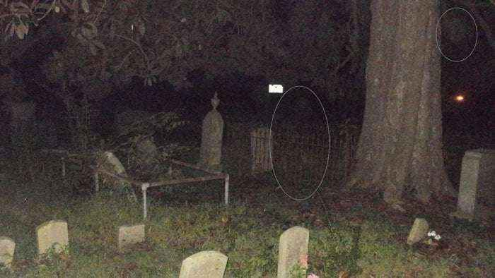 A ghost of an old woman at the graveyard