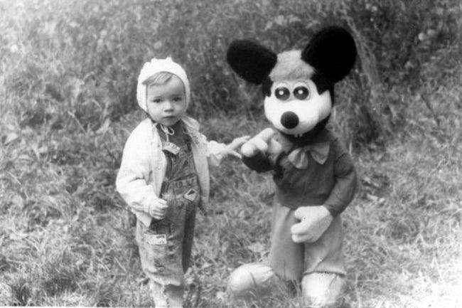 Mickey scaring the and kidnapping the young souls