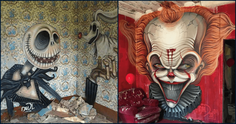 Check Out These Abandoned Houses Filled With Horror-Themed Graffiti