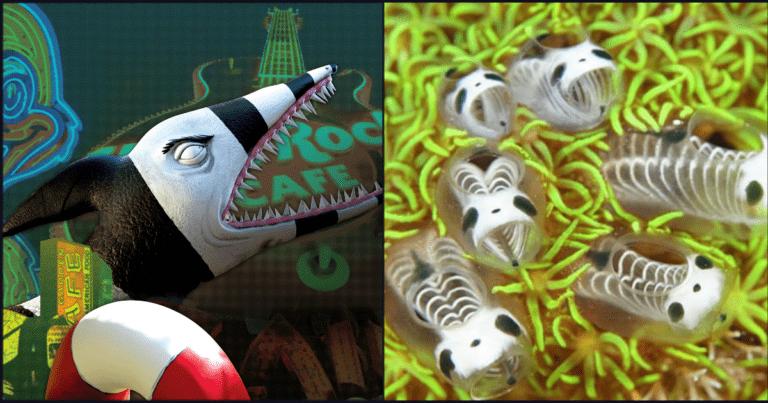 These Skeleton Panda Sea Squirts Look Like A Tim Burton Creation