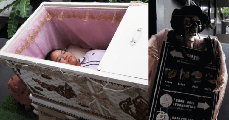 Death Café in Bangkok, Thailand lets you stay inside a coffin