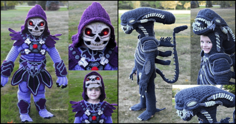 Mom Crochets Unbelievable Xenomorph and Skeletor Costumes For Son