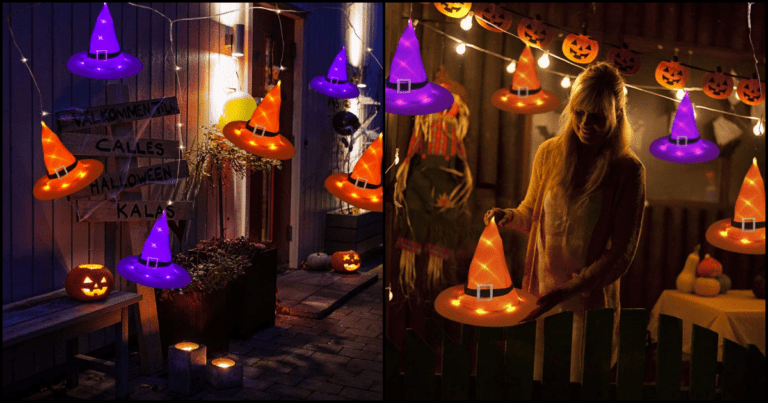 These Floating Witch Hat Lights Are Perfect For Your Halloween Decor