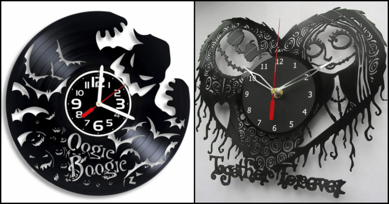 These 'Nightmare Before Christmas' Clocks Are Made From Old Records